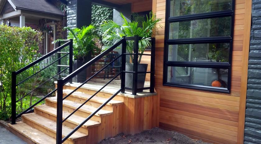 Deck railing calgary aluminum railing decks home for Urban glass fencing
